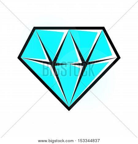 Bright cyan diamond icon. Vector isolated eps10