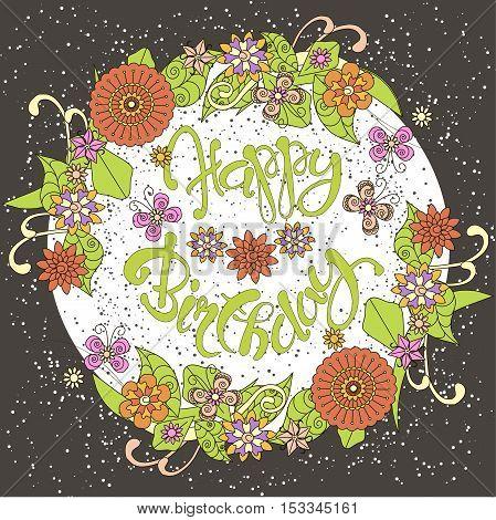 Colorful hand drawn flowers congratulation card Happy birthday on dark vector illustration