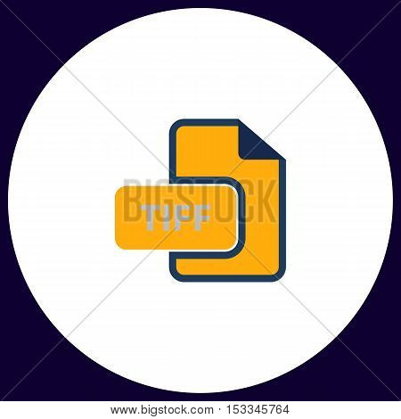 TIFF Simple vector button. Illustration symbol. Color flat icon