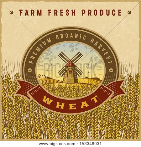 Vintage colorful wheat harvest label. Editable vector illustration in retro woodcut style with clipping mask.