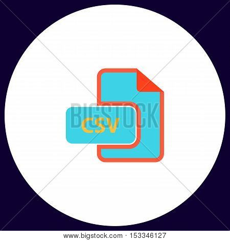 CSV Simple vector button. Illustration symbol. Color flat icon