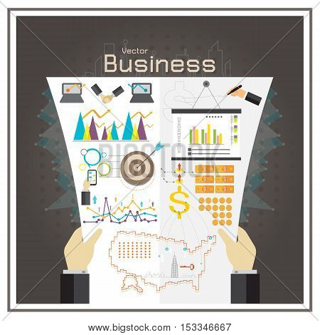 business graph investment map usa money report vector