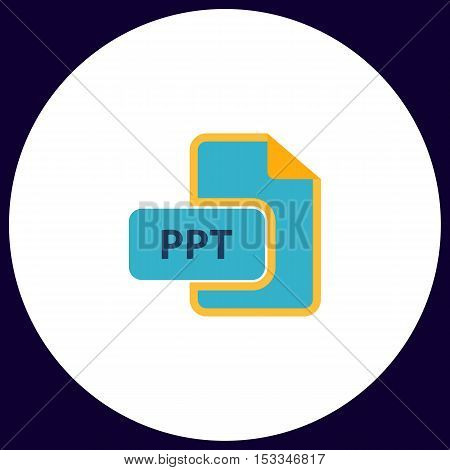 PPT Simple vector button. Illustration symbol. Color flat icon