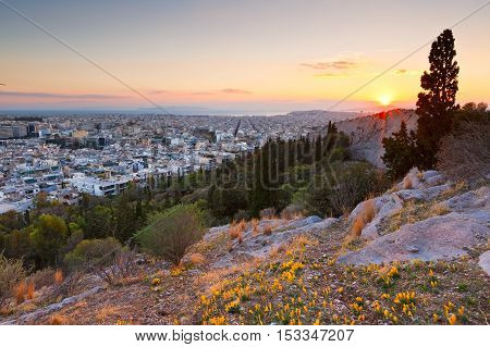 Evening view of Athens from Filopappou hill, Greece.