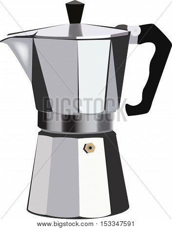 Traditional Italian coffee maker Italian coffee pot in aluminum to filter the coffee