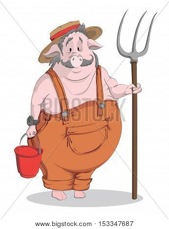 Pig-farmer with a pitchfork and bucket. Vector cartoon illustration on a white background.