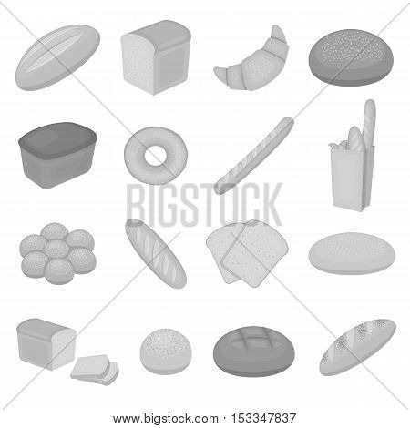 Bread set icons in monochrome style. Big collection of bread vector symbol stock