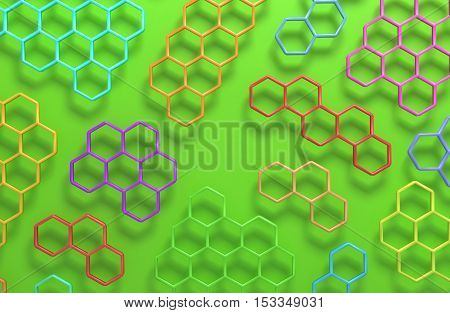 3D generated colorful honeycomb illustration as a background