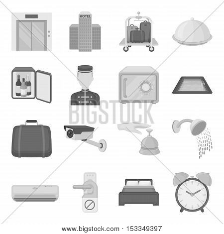 Hotel set icons in monochrome style. Big collection of hotel vector symbol stock