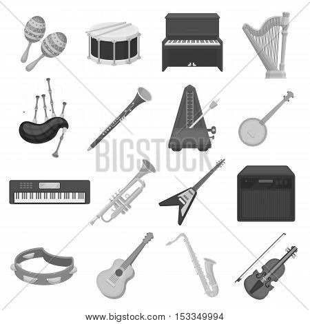 Musical instruments set icons in monochrome style. Big collection of musical instruments vector symbol stock