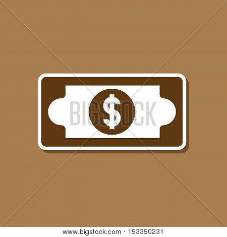 paper sticker on stylish background of dollar money