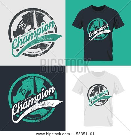 Modern fitness center isolated tee print vector design set. Premium quality superior champion logo concept. Threadbare iron barbell. Shabby t-shirt athletic club emblem illustration.