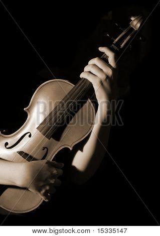 old violin, sepia effect