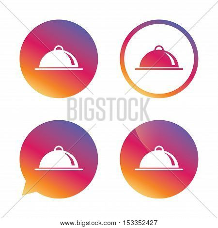 Food platter serving sign icon. Table setting in restaurant symbol. Gradient buttons with flat icon. Speech bubble sign. Vector