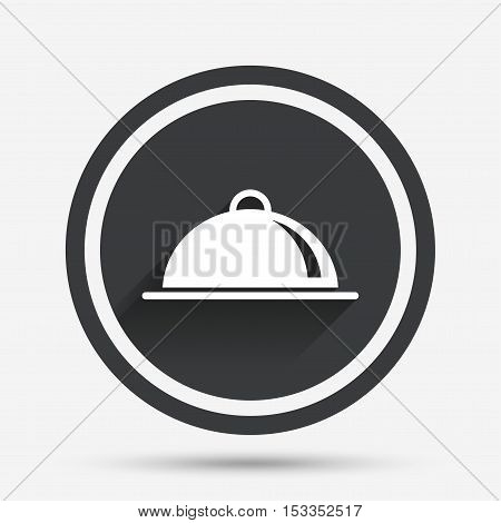 Food platter serving sign icon. Table setting in restaurant symbol. Circle flat button with shadow and border. Vector