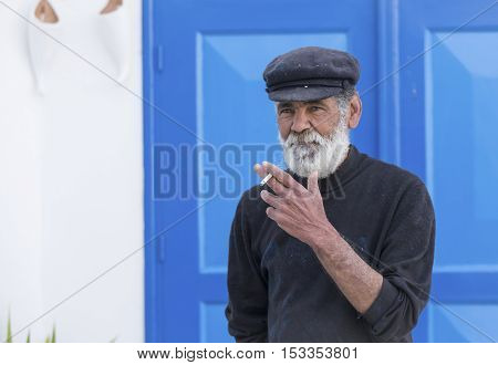 Tunis Tunisia May 5th 2016: Tunisian man smoking a cigarette