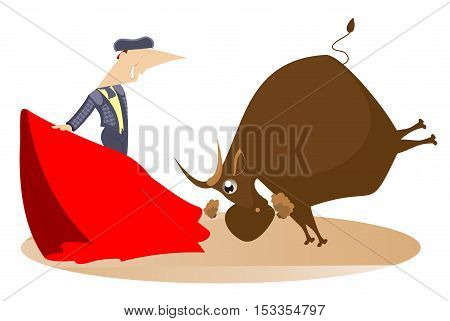 Bullfight. Bullfighter and a bull cartoon illustration