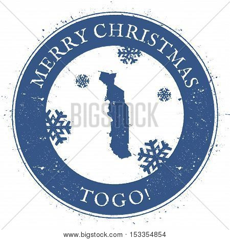 Togo Map. Vintage Merry Christmas Togo Stamp. Stylised Rubber Stamp With County Map And Merry Christ