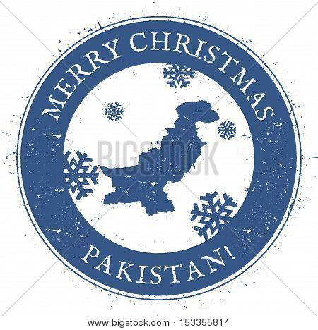 Pakistan Map. Vintage Merry Christmas Pakistan Stamp. Stylised Rubber Stamp With County Map And Merr