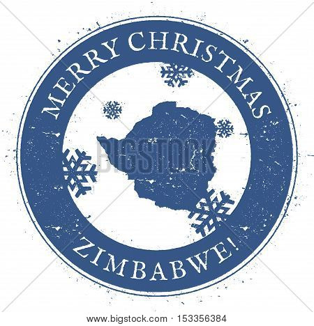 Zimbabwe Map. Vintage Merry Christmas Zimbabwe Stamp. Stylised Rubber Stamp With County Map And Merr