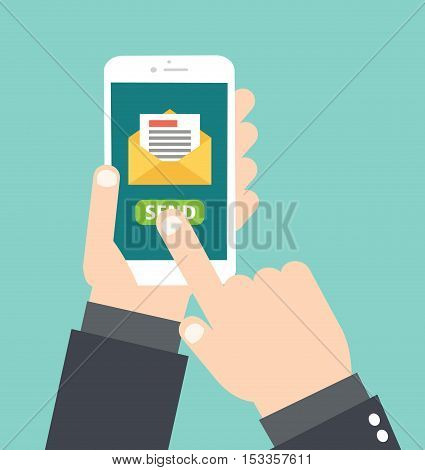Hand Holding White Smartphone - Touch Send Email Message - Concept Letter Email Vector Flat Illustration Stock