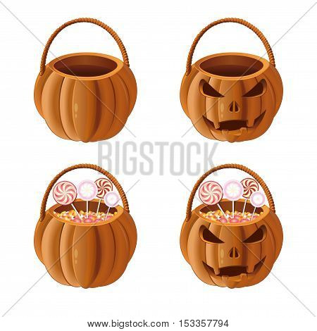 Set Jack-o'-lantern bag with candy. Orange pumpkin basket to collect candy on Halloween. Vector illustration