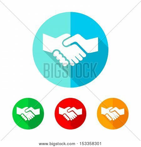 Set of colored handshake icons. White handshake with long shadow. Vector illustration. Handshake on the round button.