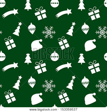 Seamless green and white christmas pattern with xmas symbol silhouettes of christmas tree santa's hat gift - present snowflake - ice flake x-mas glass ornament and coment