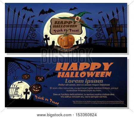 Happy Halloween design. Trick or treat. Full moon over the cemetery, jack-o'-lantern, pumpkin, witch hat. Vector horizontal leaflet, flyer, banner template