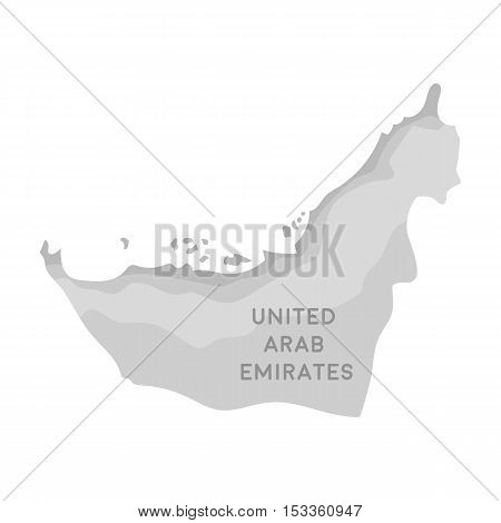Territory of United Arab Emirates icon in monochrome style isolated on white background. Arab Emirates symbol vector illustration.
