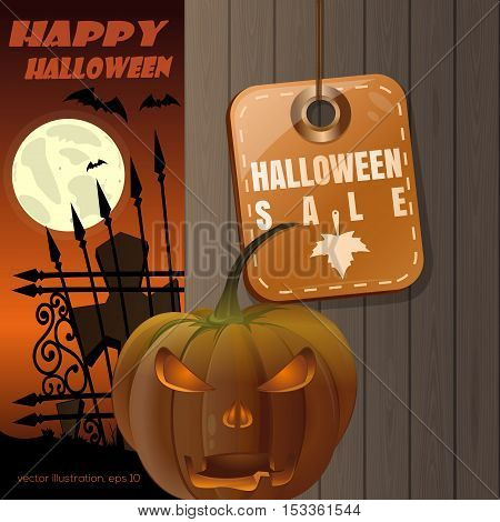 Price tag with inscription - Halloween sale. Jack-o'-lantern on a background of a wooden fence. Full moon over the cemetery. Vector illustration
