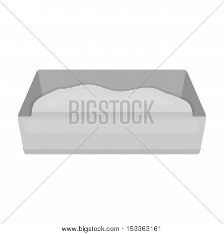 Litter box icon in monochrome style isolated on white background. Cat symbol vector illustration.