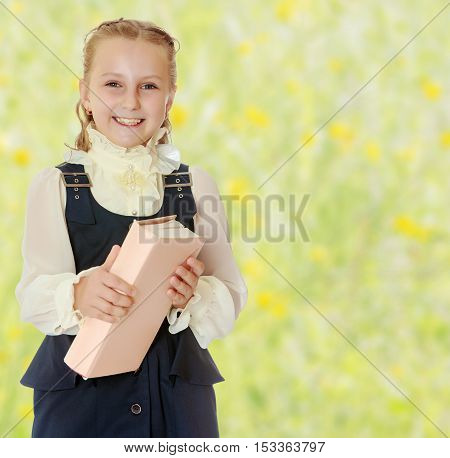 Dressy girl schoolgirl in black dress and white blouse holding a textbook and smiling cheerfully at the camera. Close-up.Summer white green blurred background.