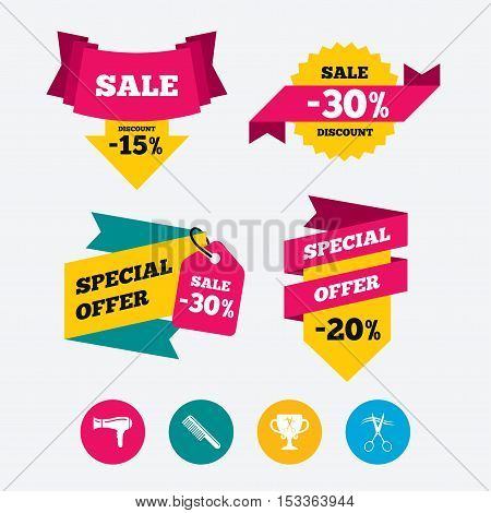 Hairdresser icons. Scissors cut hair symbol. Comb hair with hairdryer symbol. Barbershop winner award cup. Web stickers, banners and labels. Sale discount tags. Special offer signs. Vector