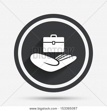 Baggage insurance sign icon. Hand holds travel luggage. Protection from loss of baggage. Circle flat button with shadow and border. Vector