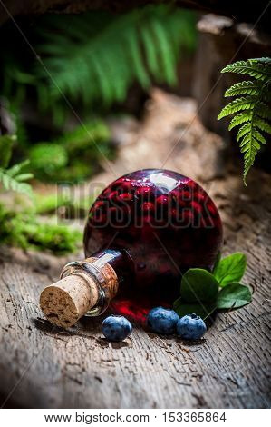 Homemade liqueur with alcohol and blueberries on old bark