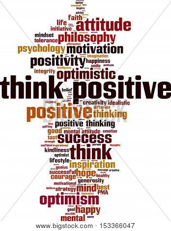 Think positive word cloud concept. Vector illustration