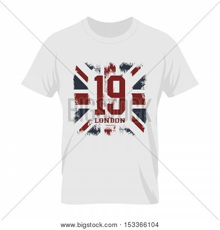 Vintage United Kingdom of Great Britain and Northern Ireland flag tee print vector design. Grunge Union Jack illustration. Premium quality number London t-shirt wear emblem and logo concept mock up.