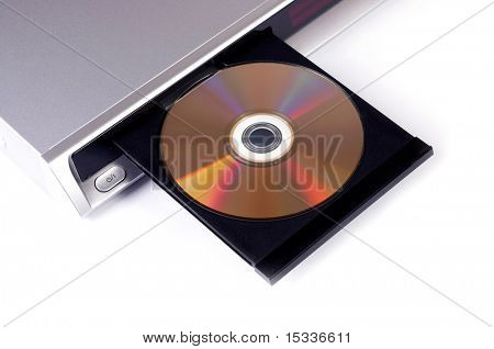 DVD player with open disc tray isolated on white