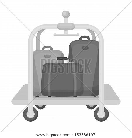 Luggage cart icon in monochrome style isolated on white background. Hotel symbol vector illustration.