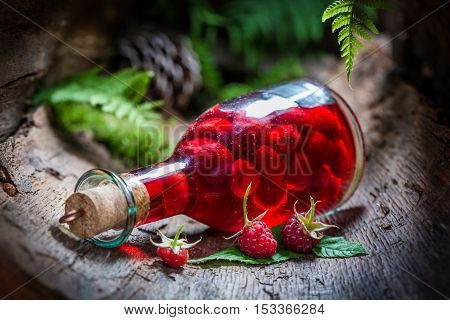 Homemade Raspberries Liqueur Made Of Fruits And Alcohol