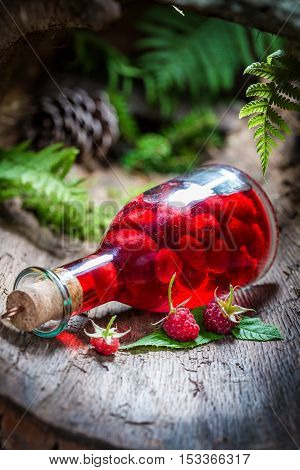 Homemade Raspberries Liqueur Made Of Alcohol And Fruits