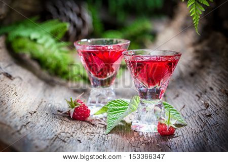 Sweet Raspberries Liqueur Made Of Fruits And Alcohol