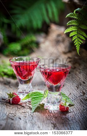Sweet Raspberries Liqueur Made Of Alcohol And Fruits
