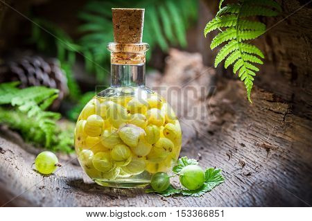 Sweet Liqueur Made Of Gooseberries And Alcohol