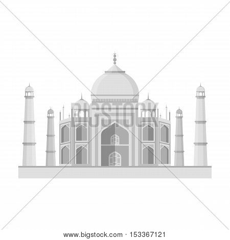 Taj Mahal icon in monochrome style isolated on white background. India symbol vector illustration.