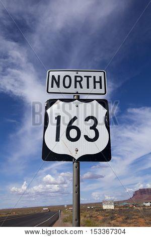 Highway 163 North sign on the Arizona roadside