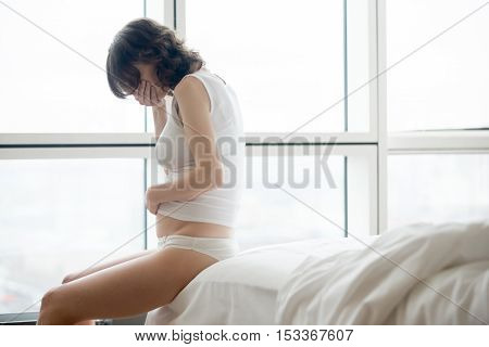 Nauseous Woman On Early Pregnancy Term