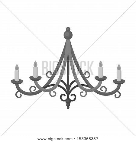 Chandelier icon in monochrome style isolated on white background. Light source symbol vector illustration