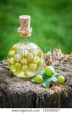 Sweet Liqueur Made Of Alcohol And Gooseberries